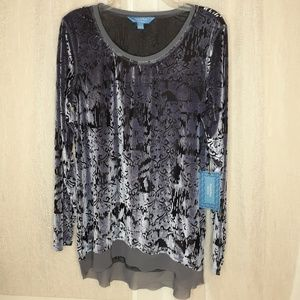 Vera Wang Shimmery Blue Cut Out Style Blouse